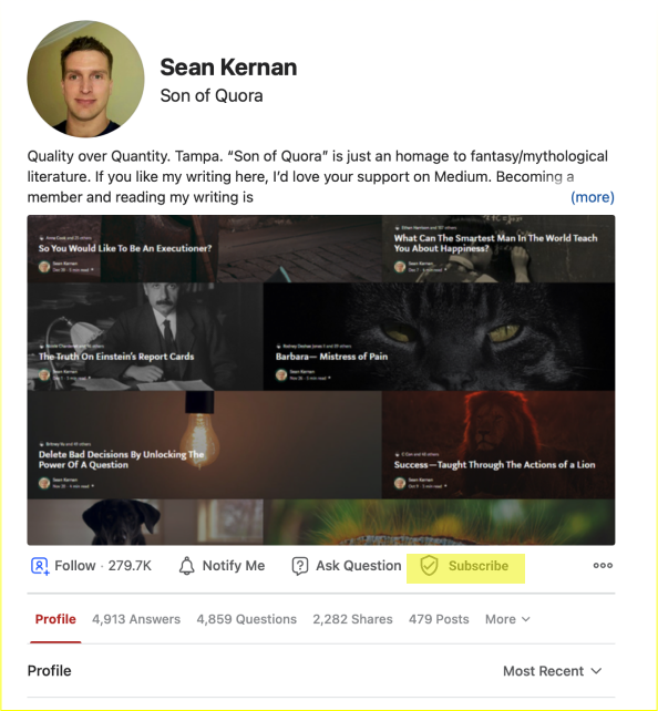 Quora profile page mockup with addition of a subscribe button.